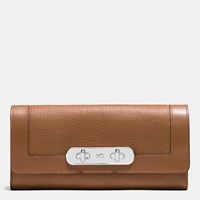 Coach Swagger Slim Envelope Wallet In Pebble Leather Silver Saddle