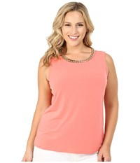 Calvin Klein Plus Plus Size Sleeveless Top W Chain Necklace Porcelain Rose Women's Sleeveless Pink