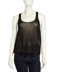 Sweet Pea Mesh Racerback Top Black Khaki