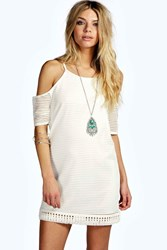 Boohoo Cold Shoulder Fringe Shift Dress Cream