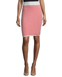 Todd And Duncan Cashmere Printed Knit Pencil Skirt Taupe Rose