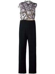 Self Portrait Floral Macrame Jumpsuit Black
