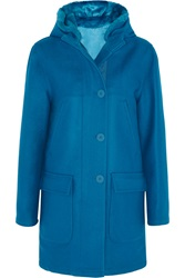 Richard Nicoll Faux Fur Trimmed Hooded Wool Blend Coat Blue