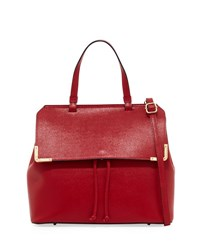 Neiman Marcus Saffiano Top Handle Satchel Bag Dark Red