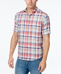Tasso Elba Men's Big And Tall Plaid Short Sleeve Shirt Classic Fit Coral Depth