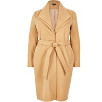 River Island Womens Brown Ri Plus Belted Coat