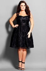 City Chic 'Embroidered Beauty' Organza Party Dress Plus Size