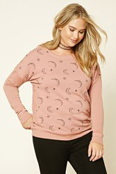 Forever 21 Plus Size Moon Sweatshirt Mauve Black