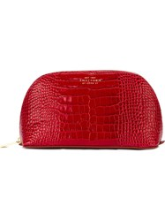 Smythson Snakeskin Effect Makeup Bag Red