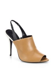 Narciso Rodriguez Cindy Leather Slingback Sandals Tan