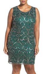 Pisarro Nights Plus Size Women's Embellished Scroll Motif Sheath Dress