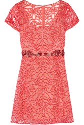 Marchesa Notte Embroidered Tulle Mini Dress Coral