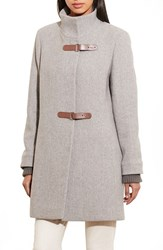 Lauren Ralph Lauren Women's Funnel Neck Wool Coat Grey