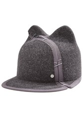 Maison Michel Felted Wool Cat Ear Cap Grey