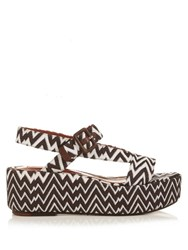 Missoni Zigzag Knit Flatform Sandals Brown Multi