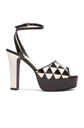 Valentino Shiny Fever Print 115Mm Platform Sandals In Black White Geometric Print