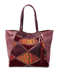 Steve Madden Myles Tapestry Patchwork Tote Wine