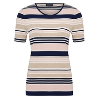 Viyella Boat Neck Stripe Jersey Top Pink