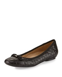 Neiman Marcus Sabrina Quilted Leather Bow Flat Black