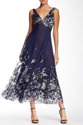 Marchesa Embellished Tea Length Gown Blue