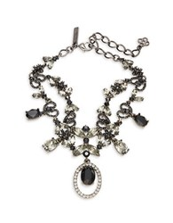 Oscar De La Renta Floral Statement Necklace Black