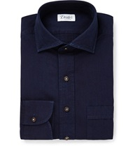 Drakes Navy Cotton Shirt Blue