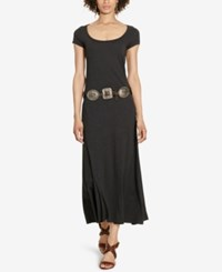 Polo Ralph Lauren Cotton Scoop Neck Maxi Dress Boot Black Heather