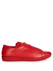 Saint Laurent Court Classic Low Top Leather Trainers Red