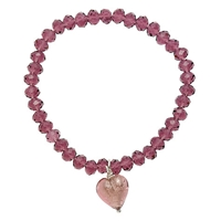 Martick Faceted Crystal Murano Heart Bracelet Purple