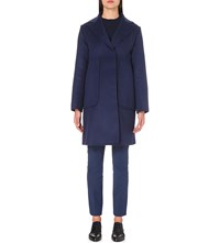 Sportmax Pocket Detail Wool And Angora Blend Coat China Blue
