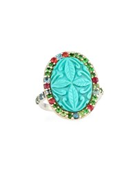 Stephen Dweck Carved Turquoise And Mixed Tourmaline Ring