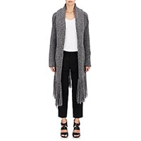 Raquel Allegra Women's Fringe Poncho Cardigan Coat Dark Grey