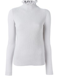 Emporio Armani Hi Neck Ribbed Front Sweater Grey