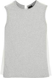 Joseph Silk Paneled Cotton Jersey Tank Gray