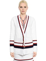 Thom Browne Fil Coupe And Crepe Cardigan Jacket