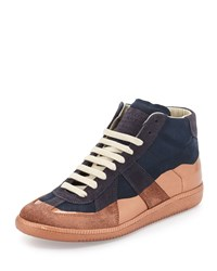 Maison Martin Margiela Replica Multicolored Leather High Top Sneaker Navy Rose Navy Pink