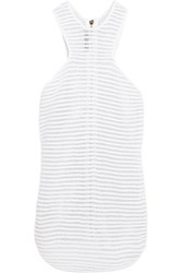 Balmain Cotton Blend Terry And Metallic Mesh Top White