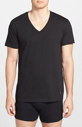 Polo Ralph Lauren Men's 3 Pack V Neck T Shirts Black