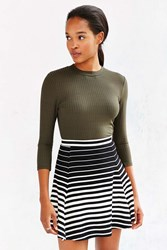 Silence And Noise Silence Noise Ribbed Knit Skater Skirt Black And White