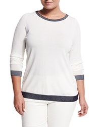 Marina Rinaldi Area Painted Collar Top Women's White