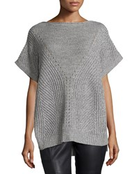 Halston Short Sleeve Knit Poncho Sweater Heather Light Heather Gray H Gry Lt Hth Gry