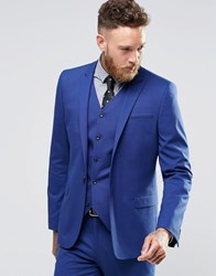 Asos Skinny Fit Suit Jacket In Royal Blue Royal Blue