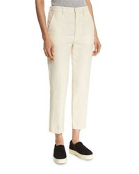 Vince Cropped Carrot Flat Front Chino Trousers Tan