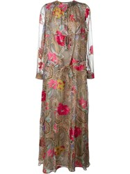 Etro Floral Paisley Print Maxi Dress Grey