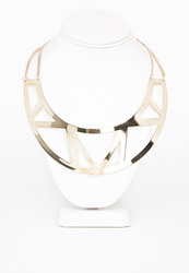 Missguided Metal Geometric Cut Out Detail Bib Necklace Gold
