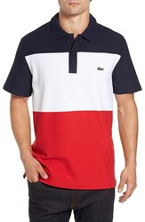 Lacoste Men's Colorblock Polo Navy Blue White Cherry Red