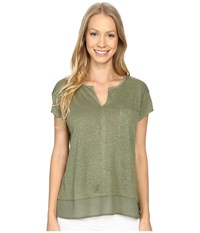 Sanctuary City Mix Tee Cactus Women's Short Sleeve Pullover Green