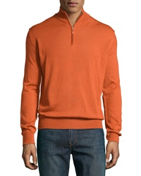 Neiman Marcus Wool Blend Half Zip Mock Turtleneck Sweater Rust