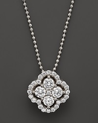 Bloomingdale's Diamond Cluster Pendant Necklace In 14K White Gold .75 Ct. T.W. White Gold White Diamonds