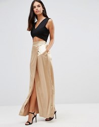 Twin Sister Sateen Maxi Skirt Gold